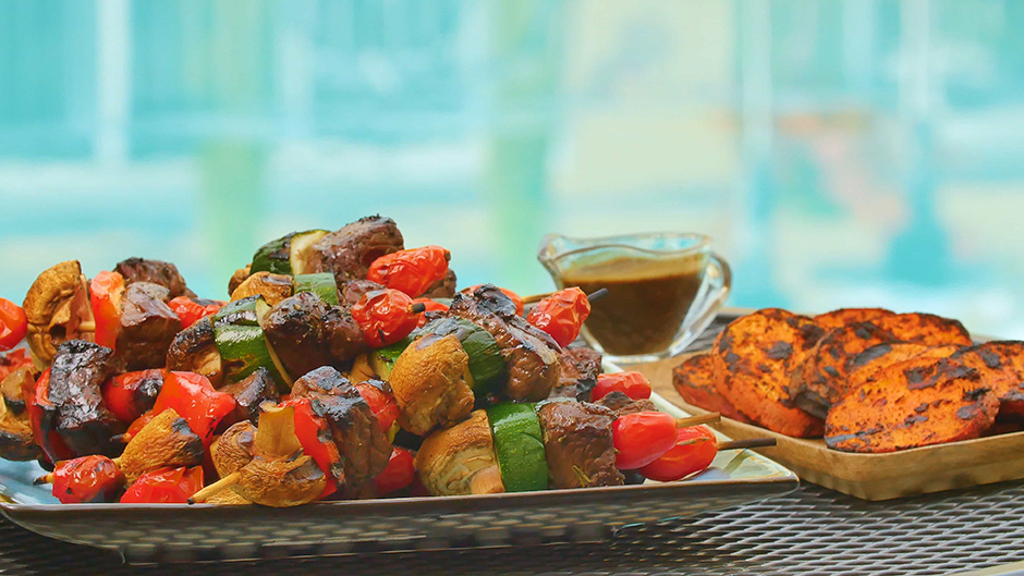 Balsamic Steak Skewers with Mixed Vegetables and Grilled Sweet Potatoes