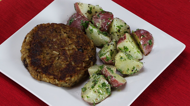 Black Bean Burgers with Mustard Potato Salad