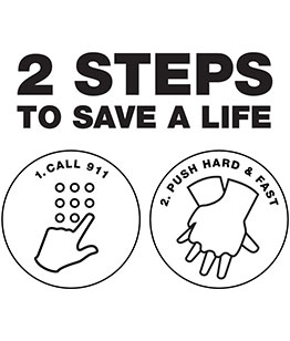 2 Steps to save a life. 1. Call 911 2. Push hard & fast