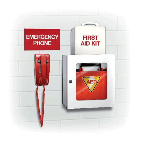 Illustration of emergency phone, first aid kid, and AED on a wall