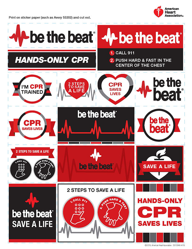 image relating to Cpr Posters Free Printable named Be the Combat American Center Affiliation CPR Very first Assist