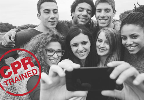 CPR Trained Next Generation of Lifesavers students posing together for selfie